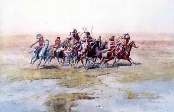 cree war party Charles Marion Russell Oil Paintings