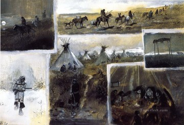 western montage 1889 Charles Marion Russell Oil Paintings