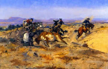 cowboys Art - when cowboys get in trouble 1905 Charles Marion Russell