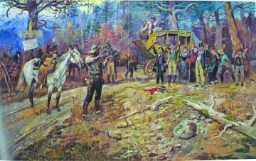 The hold up 20 miles to deadwood Charles Marion Russell Oil Paintings