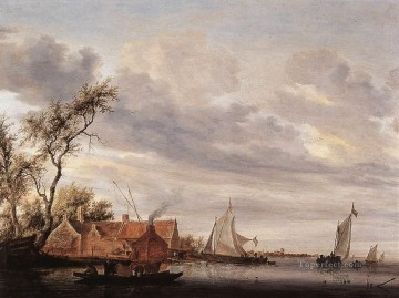 River Scene with Farmstead Salomon van Ruysdael Oil Paintings