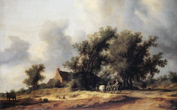 Road Oil Painting - Road landscape Salomon van Ruysdael