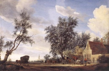 Halt at an Inn landscape Salomon van Ruysdael Oil Paintings