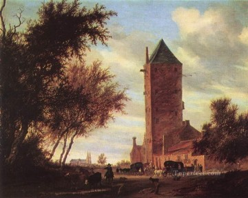 Road Oil Painting - Tower at the Road landscape Salomon van Ruysdael