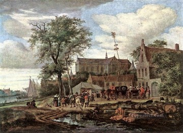 Tavern with May Tree landscape Salomon van Ruysdael Oil Paintings