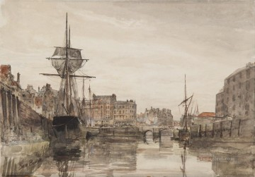 Harbour Painting - Leith Harbour Samuel Bough seaport scenes