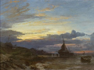 Sunrise on the Fife Coast Samuel Bough seaport scenes Oil Paintings