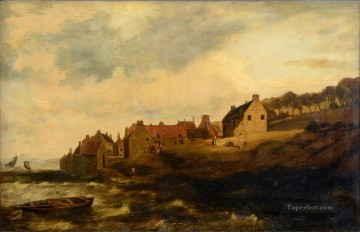 Drying sheets at a coastal scottish hamlet Samuel Bough landscape Oil Paintings