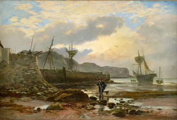 Harbour Painting - Harbour at Low Tide Samuel Bough seaport scenes