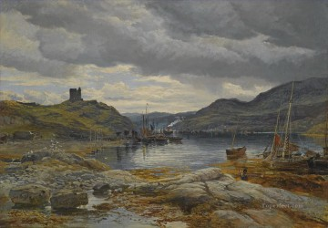 Harbour Painting - INCHHOLM HARBOUR Samuel Bough seaport scenes