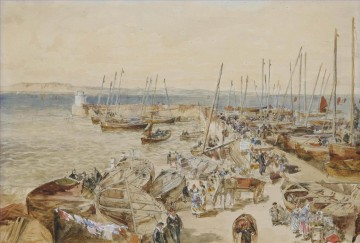 Newhaven harbour on the Firth of Forth Samuel Bough landscape Oil Paintings