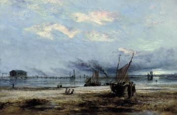 Sunrise overshore Kirkcaldy Samuel Bough landscape Oil Paintings