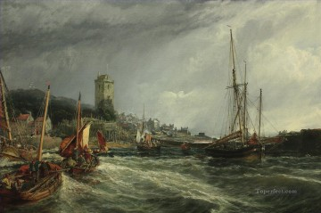 Harbour Painting - Fishing Boats Running Into Port Dysart Harbour Samuel Bough seaport scenes