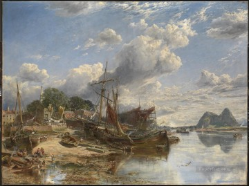 Shipyard at Dumbarton Samuel Bough seaport scenes Oil Paintings
