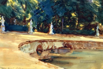 garden Oil Painting - Pool in the Garden of La Granja landscape John Singer Sargent