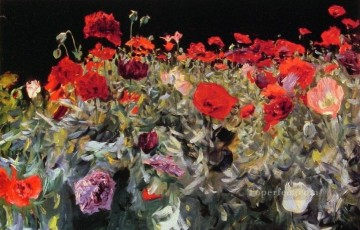 POP Oil Painting - Poppies landscape John Singer Sargent