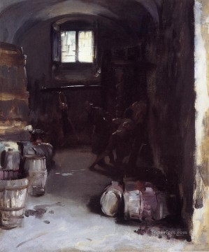 Pressing the Grapes Florentine Wine Cellar John Singer Sargent Oil Paintings