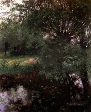 Water Works - A Backwater at Wargrave landscape John Singer Sargent
