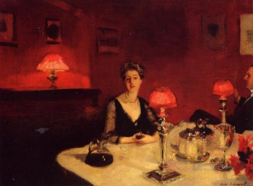 Night Art - A Dinner Table at Night portrait John Singer Sargent
