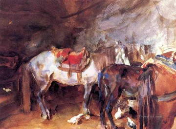 Stable Oil Painting - Arab Stable John Singer Sargent