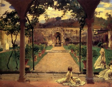 Garden Art - At Torre Galli Ladies in a Garden John Singer Sargent