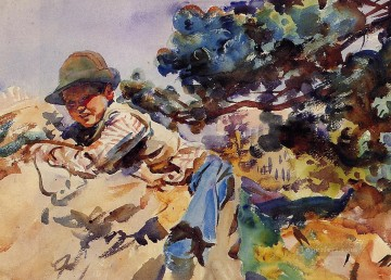 Boy Art - Boy on a Rock John Singer Sargent
