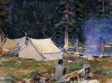 Lake Oil Painting - Camping at Lake OHara John Singer Sargent