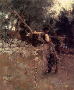 Tree Painting - Capri Girl aka Among the Olive Trees Capri John Singer Sargent