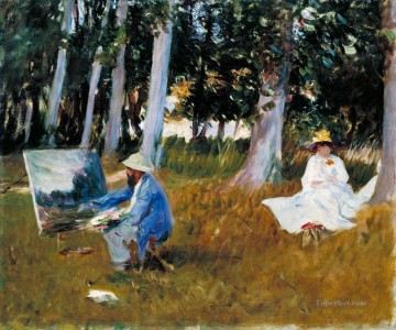 painting Oil Painting - Claude Monet Painting by the Edge of a Wood John Singer Sargent