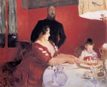 party Painting - Fete Familiale The Birthday Party John Singer Sargent