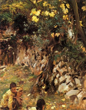 Girls Canvas - Girls Gathering Blossoms Valdemosa Majorca John Singer Sargent