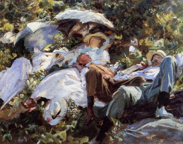 Group with Parasols A Siesta John Singer Sargent Oil Paintings