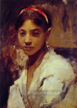 Head of a Capril Girl portrait John Singer Sargent Oil Paintings