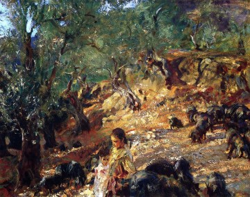 Ilex Wood at Majorca with Blue Pigs John Singer Sargent Oil Paintings