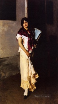 Italian Oil Painting - Italian Girl with Fan portrait John Singer Sargent