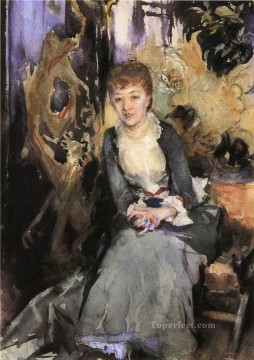 seated Art - Miss Reubell Seated in Front of a Screen portrait John Singer Sargent