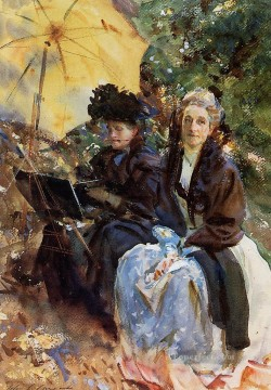 Miss Wedewood and Miss Sargent Sketching John Singer Sargent Oil Paintings