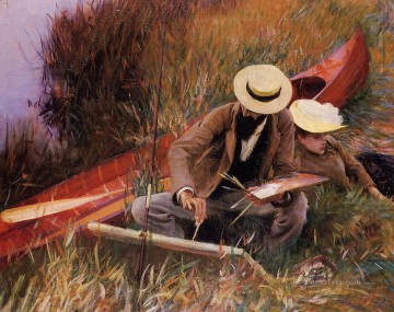 Wife Deco Art - Paul Helleu Sketching with His Wife John Singer Sargent