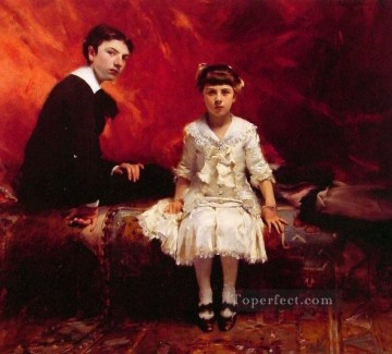 Edouard Oil Painting - Portrait of Edouard and MarieLoise Pailleron John Singer Sargent