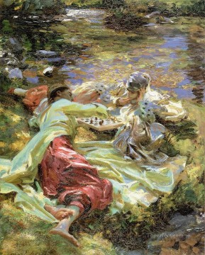 Singer Art Painting - The Chess Game John Singer Sargent