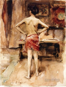 Interior Painting - The Model Interior with Standing Figure John Singer Sargent