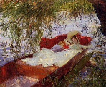 sleep Painting - Two Women Asleep in a Punt under the Willows John Singer Sargent