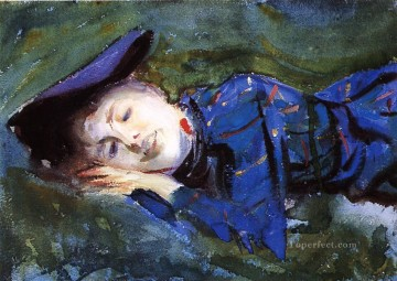 vagabonds resting in a cave Painting - Violet Resting on the Grass John Singer Sargent
