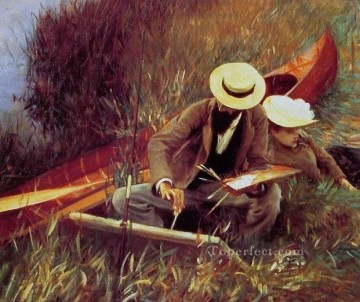 Wife Deco Art - Sargent Paul Helleu Sketching with his Wife John Singer Sargent
