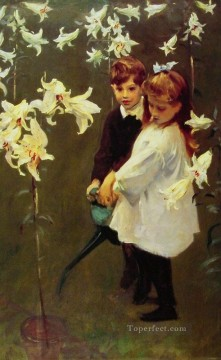 John Singer Sargent Painting - GardenStudy of the Vickers Children John Singer Sargent