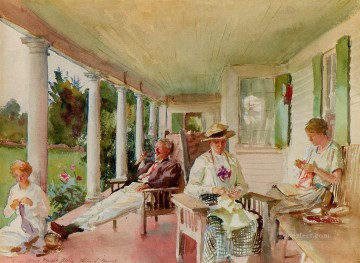 John Singer Sargent Painting - On the Verandah Ironbound Island Maine John Singer Sargent