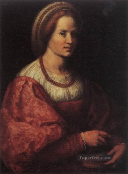 Andrea Canvas - Portrait Of A Woman With A Basket Of Spindles renaissance mannerism Andrea del Sarto