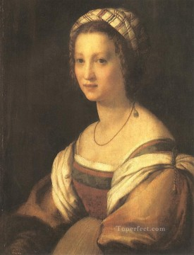 Andrea Canvas - Portrait of the Artists Wife renaissance mannerism Andrea del Sarto