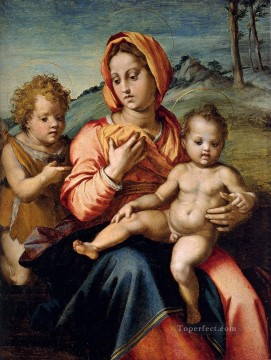 Madonna And Child With The Infant Saint John In A Landscape renaissance mannerism Andrea del Sarto Oil Paintings
