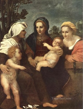 Andrea Canvas - Madonna and Child with Sts Catherine Elisabeth and John the Baptist renaissance mannerism Andrea del Sarto